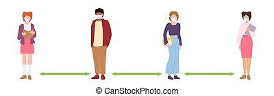 vektor, emberek, álarcos, tart, diák, távolság, társadalmi