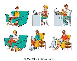 vektor, emberek, munka, lakás, dolgozó, távoli, otthon