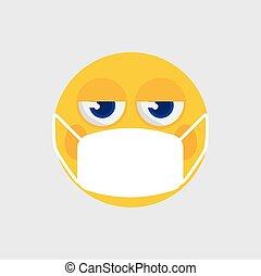 vektor, emoji, orvosi, ikon, maszk, ábra