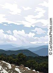 vektor, erdő, recreation., sky., ábra, felhős, vertical., gyakorlatias, kopasz, más, hegy, külső, crimea., parkosít., fekszik, valley., kilátás