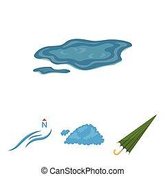 vektor, esernyő, ground., állhatatos, észak, ikonok, tócsa, felteker, web., mód, gyűjtés, karikatúra, időjárás, ábra, felhő, jelkép, részvény