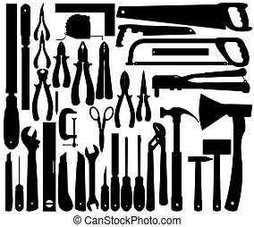 vektor, eszközök, körvonal, munka, instruments.