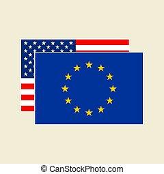 vektor, eu, állhatatos, zászlók, bennünket