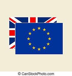 vektor, eu, állhatatos, zászlók, uk