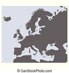 vektor, európa, térkép, politikai