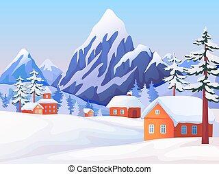 vektor, fából való, csúcs, színhely, épület, tél, háttér, csinos, parkosít., hegy, természet, fa., vidéki, havas