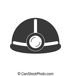 vektor, fény, kalap, nehéz, ikon