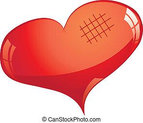 vektor, fénylik, cutted, szív, piros, ábra