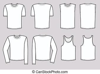 vektor, férfiak, öltözet, illustration., öltözék