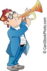 vektor, fújás, ember, trumpet.