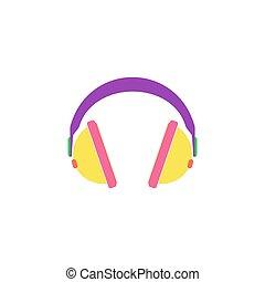 vektor, fülhallgató, ikon