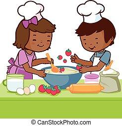 vektor, főzés, ábra, kitchen., gyerekek