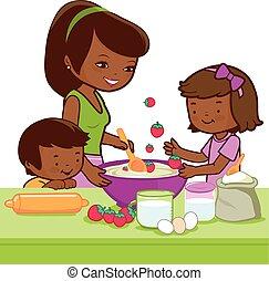 vektor, főzés, anya, kitchen., ábra, gyerekek