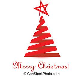 vektor, fa, karácsony, piros