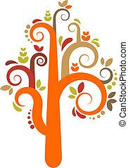 vektor, fa, színes