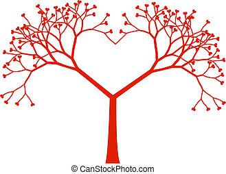 vektor, fa, szív