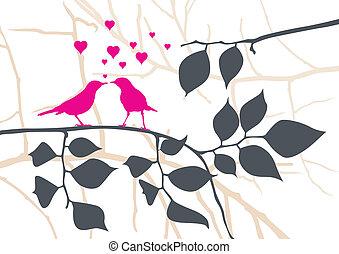 vektor, fa, -, szeret madár