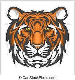 vektor, face., tiger, head., tigris, ábra