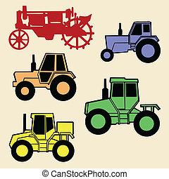 vektor, fehér, állhatatos, traktor, háttér