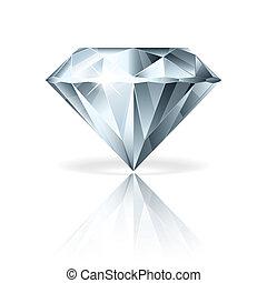 vektor, fehér, gyémánt, elszigetelt, ábra