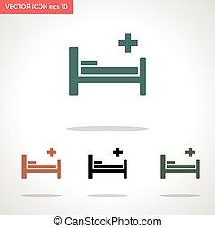 vektor, fehér, ikon, ágy, elszigetelt, háttér