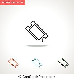 vektor, fehér, ikon, cédula, elszigetelt, egyenes, háttér