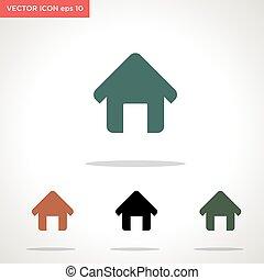 vektor, fehér, ikon, elszigetelt, otthon, háttér