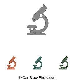 vektor, fehér, ikon, mikroszkóp, elszigetelt, háttér