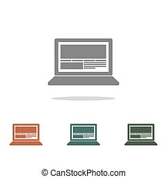 vektor, fehér, laptop, ikon, elszigetelt, háttér