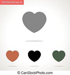 vektor, fehér, szív, ikon, elszigetelt, háttér