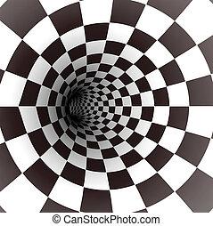 vektor, fehér, tunnel., fekete, spirál