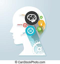 vektor, fej, fogalom, beteg, dolgozat, infographic, sablon, transzparens