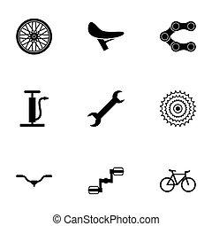 vektor, fekete, állhatatos, bicikli, ikonok