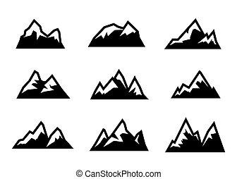 vektor, fekete, állhatatos, hegy, ikonok