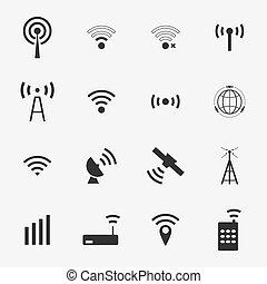 vektor, fekete, állhatatos, különböző, drótnélküli távíró, ikonok, wifi