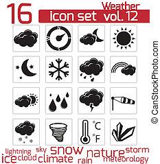 vektor, fekete, időjárás, állhatatos, ikonok