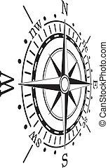 vektor, fekete, iránytű