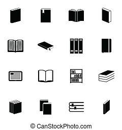 vektor, fekete, könyv, állhatatos, ikonok