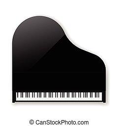 vektor, fekete, piano., klasszikus, nagy