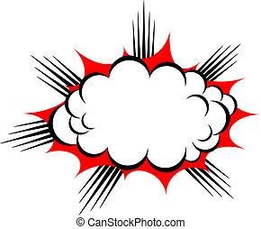 vektor, felrobbanás, felhő