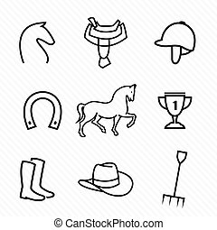 vektor, felszerelés, ló, állhatatos, ikonok