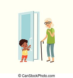 vektor, fiú, fogalom, ajtó, nyílás, modor, öregedő, jó, gyerekek, ábra, háttér, nő, fehér