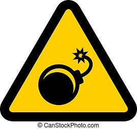 vektor, figyelmeztetés, bombáz, aláír