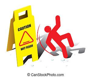 vektor, figyelmeztet, emelet, aláír, nedves
