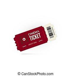 vektor, film, elszigetelt, mozi, fehér, cédula, piros, ticket., ábra, háttér.