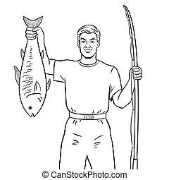 vektor, fish, színezés, halász, könyv