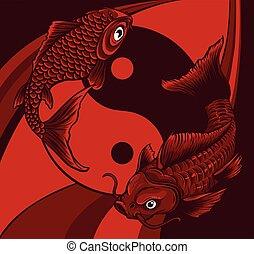 vektor, fishes., ábra, jelkép, ying yang, koi