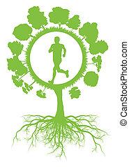vektor, fogalom, egészséges, fa, környezeti, futás, ökológia, zöld háttér, gyökér, ember