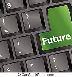 vektor, fogalom, számítógép, idő, ábra, jövő, kulcs, billentyűzet