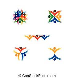 vektor, fogalom, színes, izbogis, emberek, -, állhatatos, ikonok, karika, gyerekek
